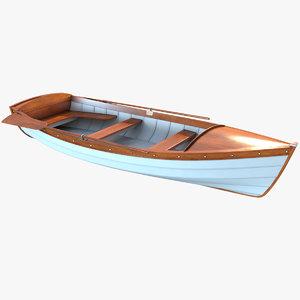 3D dinghy wooden boat
