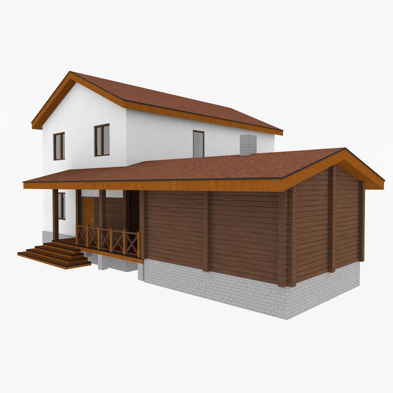 simple stone house 1 3D model