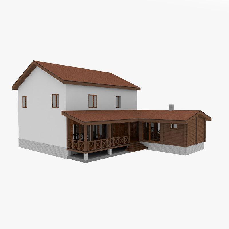 simple stone house 2 3D