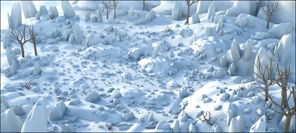 snow cartoon 3D model