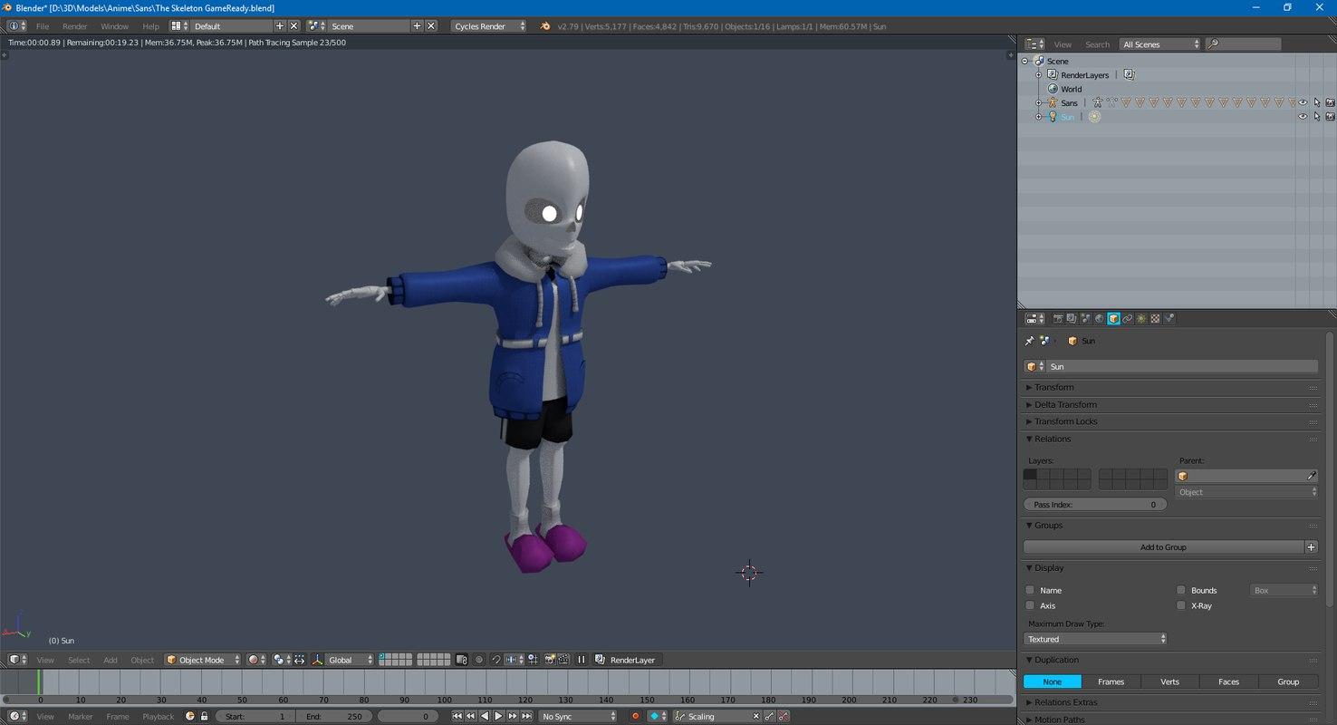 3D sans skeleton gameready