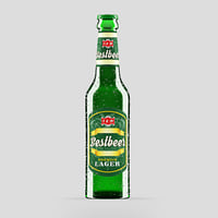 3D green beer bottle model