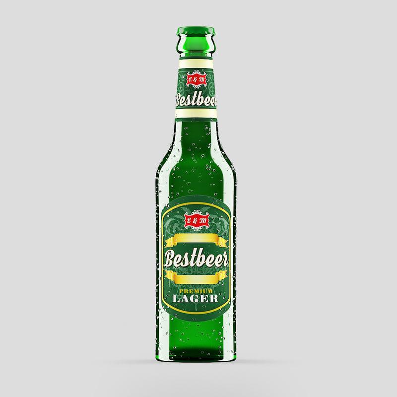 3D green beer bottle model