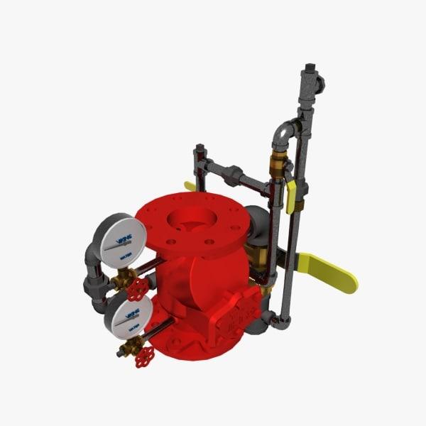 3D model alarm valve vertical trim