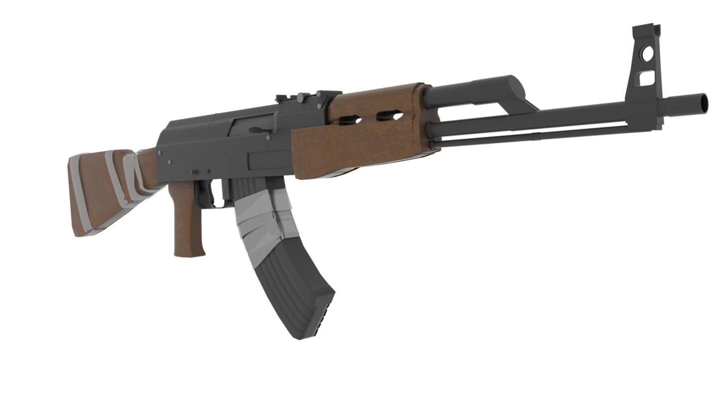 realistic ak47 rifle 3D model