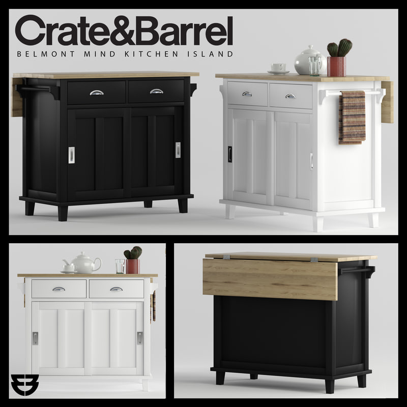 Crate Barrel Belmont Kitchen Island D TurboSquid - Crate and barrel kitchen island
