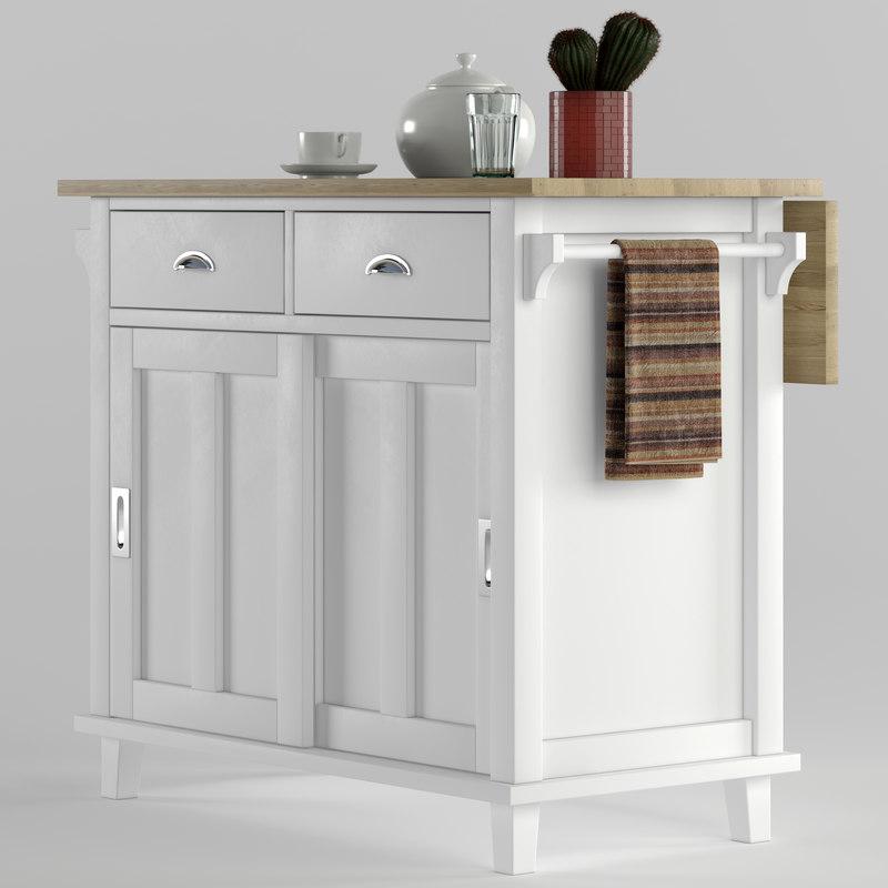Belmont Kitchen Island | Crate Barrel Belmont Kitchen Island 3d Turbosquid 1245424