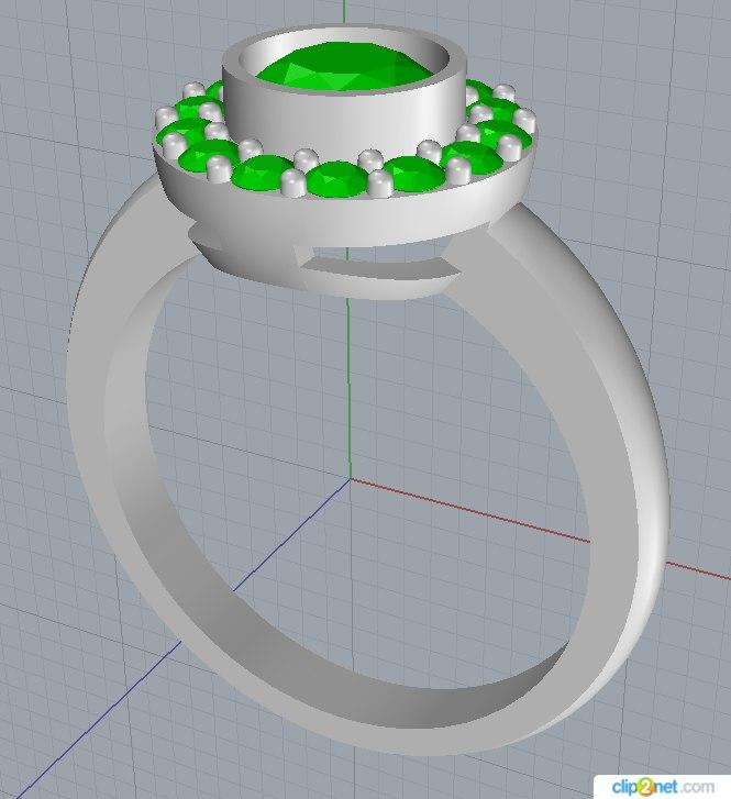 3D ring central gem radius model