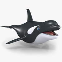 3D cartoon killer whale model