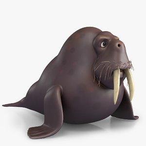 cartoon walrus 3D model