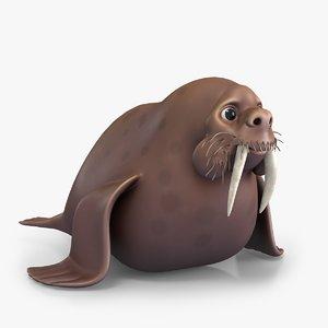 3D cartoon small walrus model