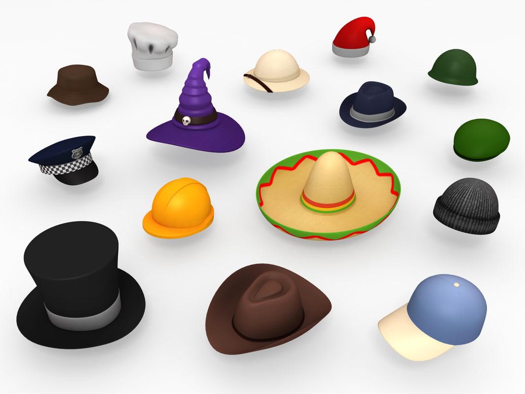 3D model hats helmet