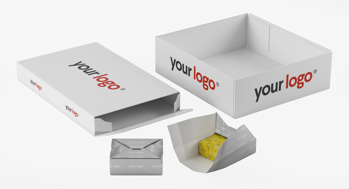 3D model realistic bouillon cube packing