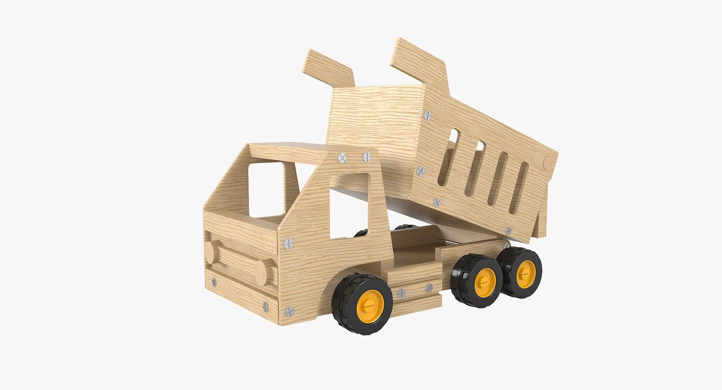 3D wooden dump truck model