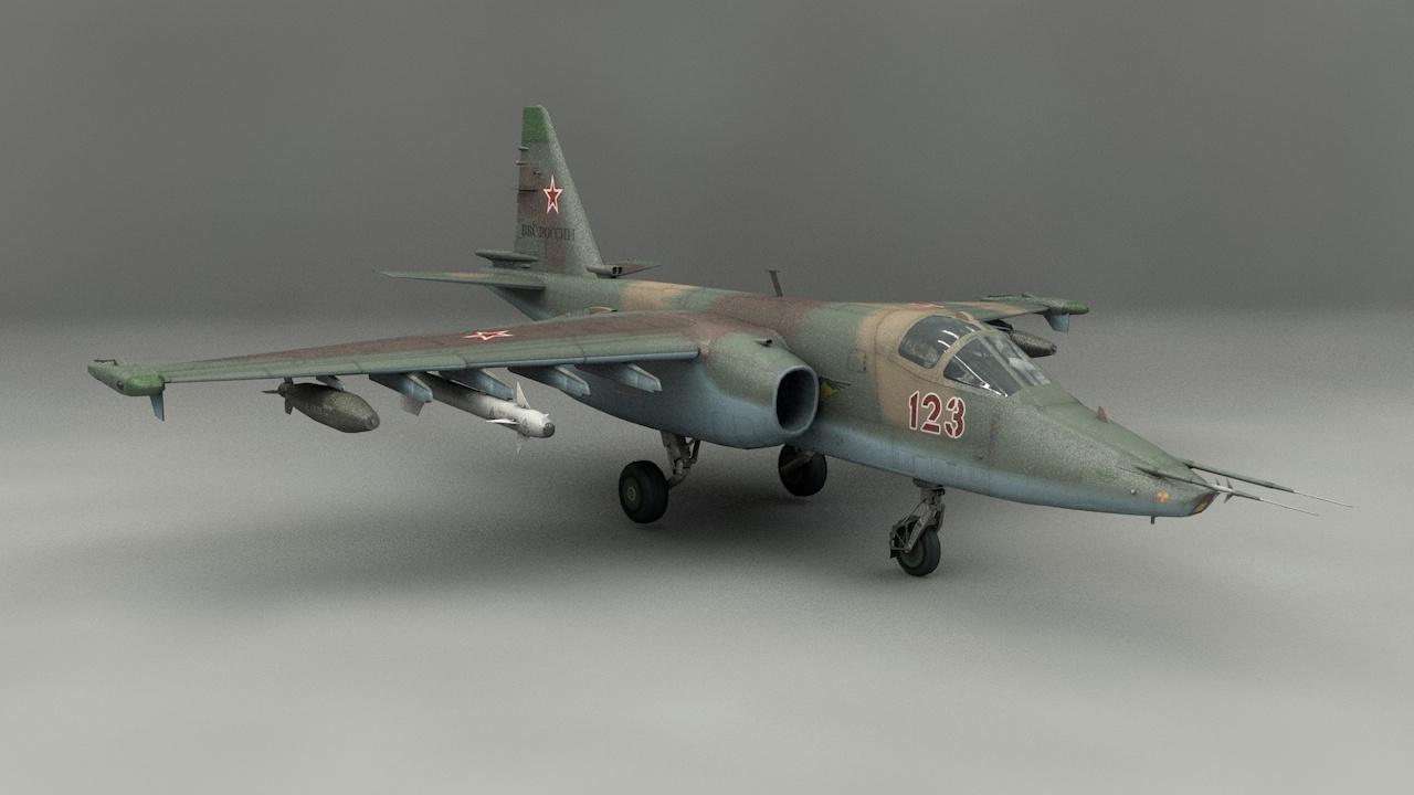 su-25 bomber pbr 3D model