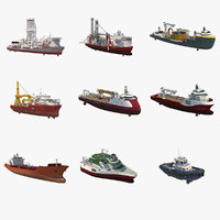 Offshore Oil and Gas Vessels Collection and Complete 3D Modeling Kitbash