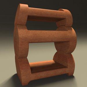wooden bedside table 3D model