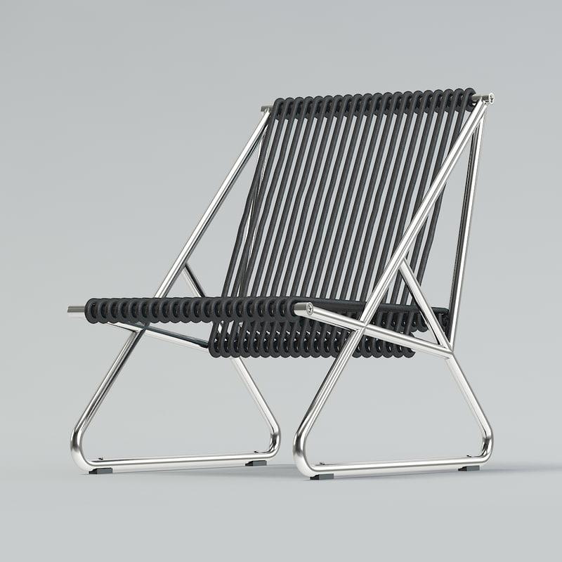 black string armchair 3D model