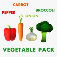 Cartoon Vegetable Pack: Carrot, pepper, Broccoli, Onion