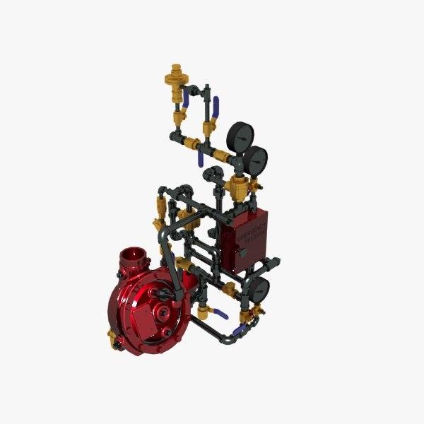 3D model deluge valve vertical conventional