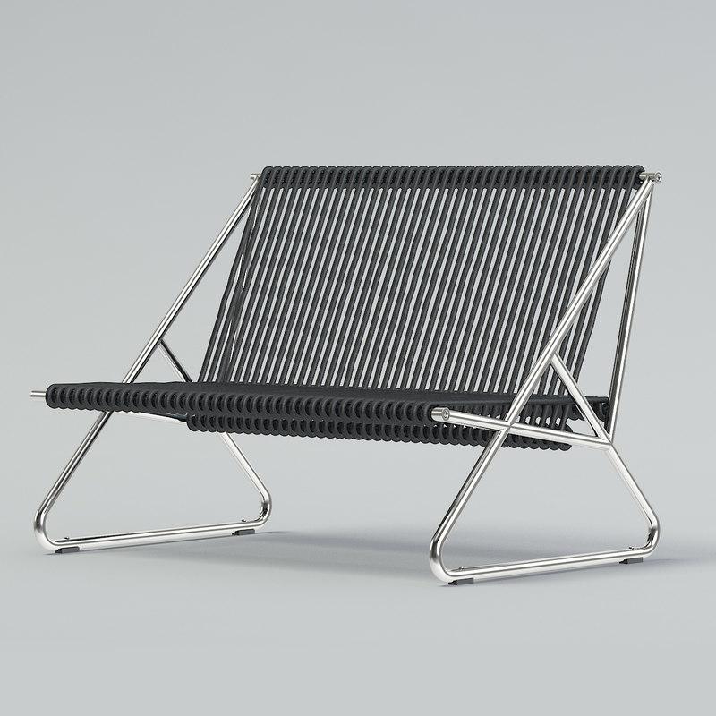 black string sofa 3D model