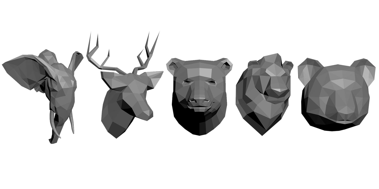 low-poly animals 3D model