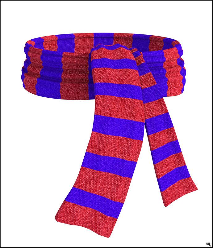 3D model scarf wool