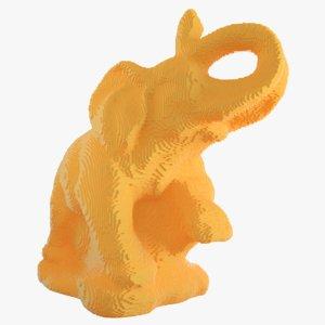 voxel elephant 3D model