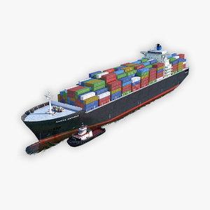 cargo ship tugboat model