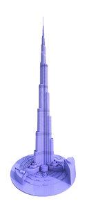 3D printable burj khalifa dubai