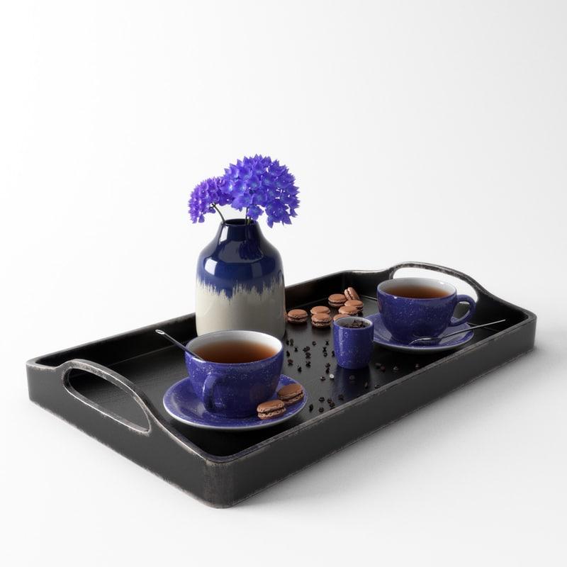 violet tea set model