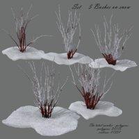 bushes snow 3D model