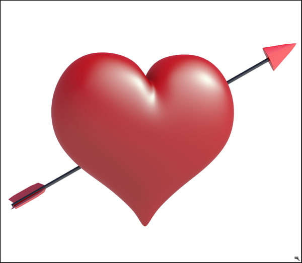 3D heart arrow valentine