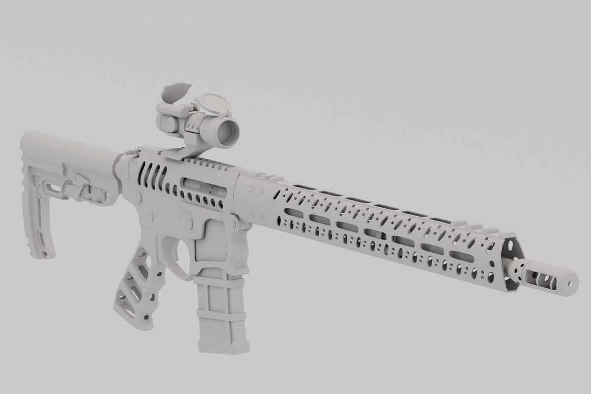 3D model assault rifle ar-15 skeletonized
