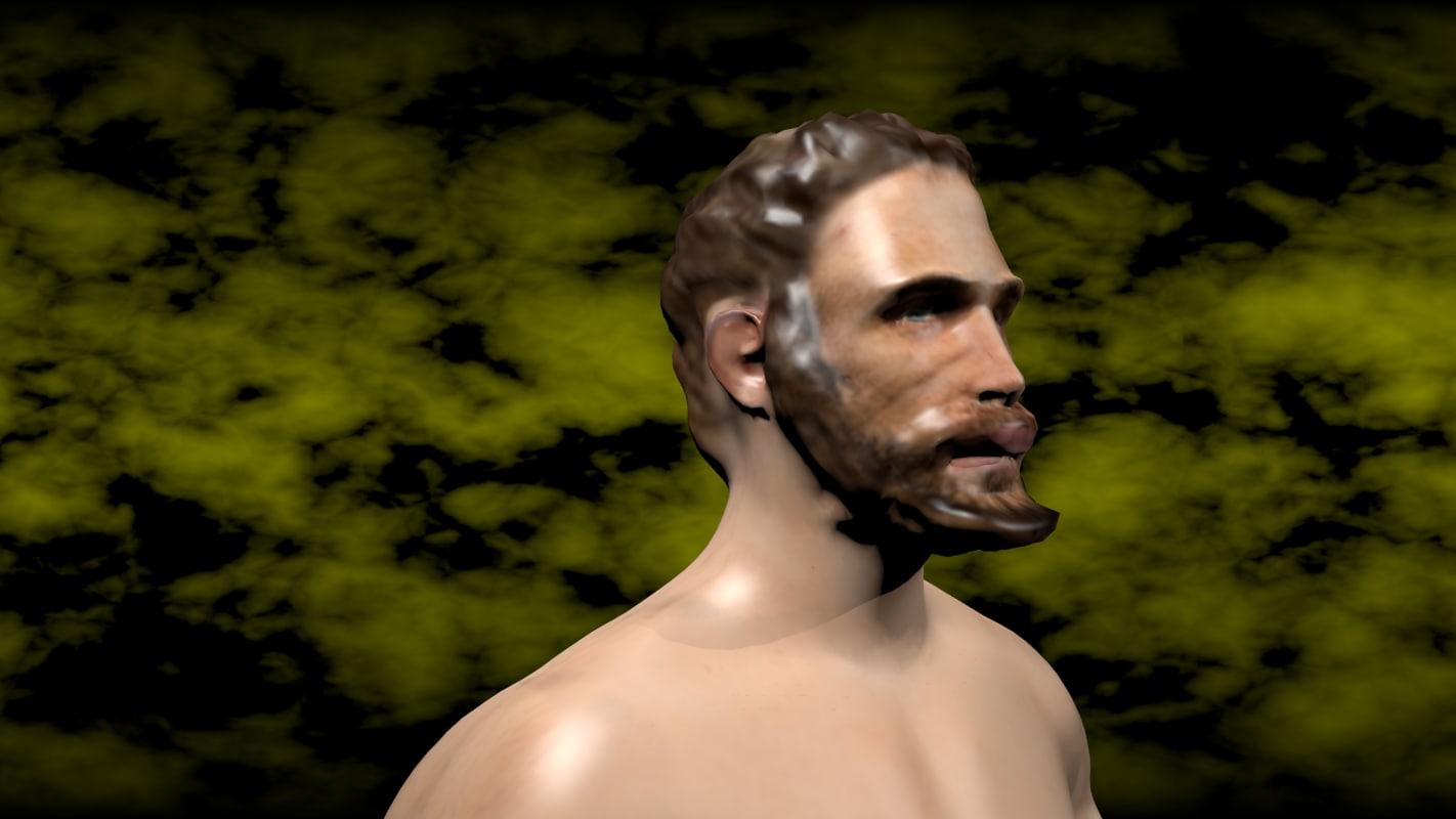 human hair beard ready 3D