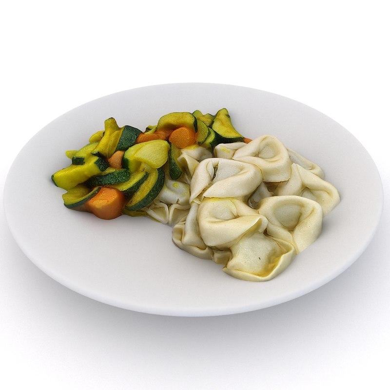 tortellini vegetables 3D model