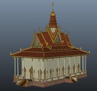 3D pagoda khmer cambodian