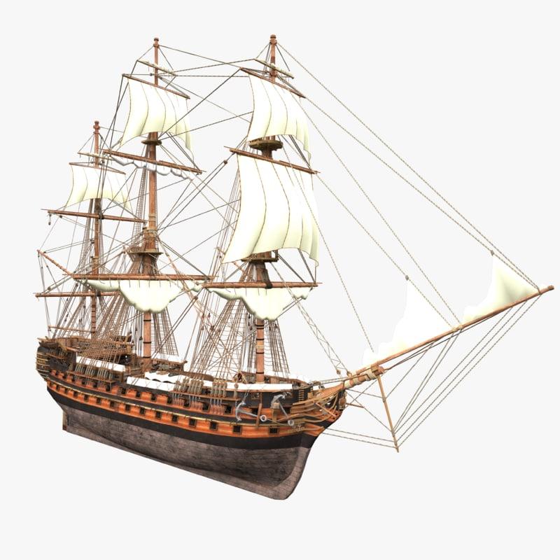 3D model ship realistic rig