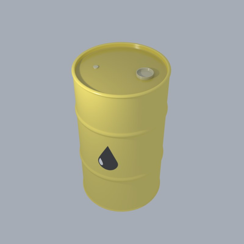 yellow oil drum 3D