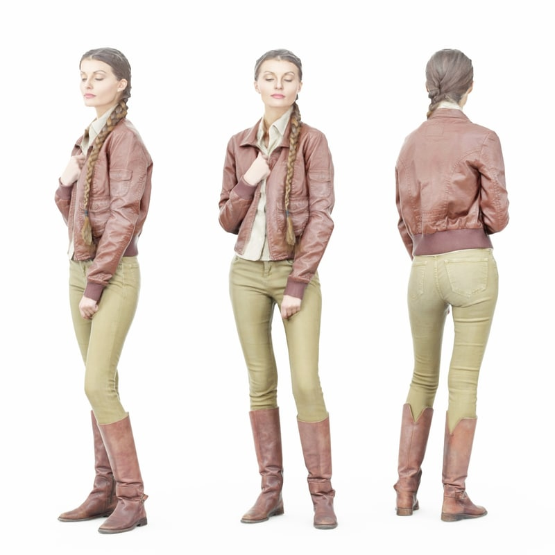 girl green pants brown leather 3D model