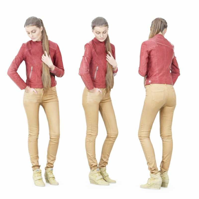 girl pants brown leather 3D model
