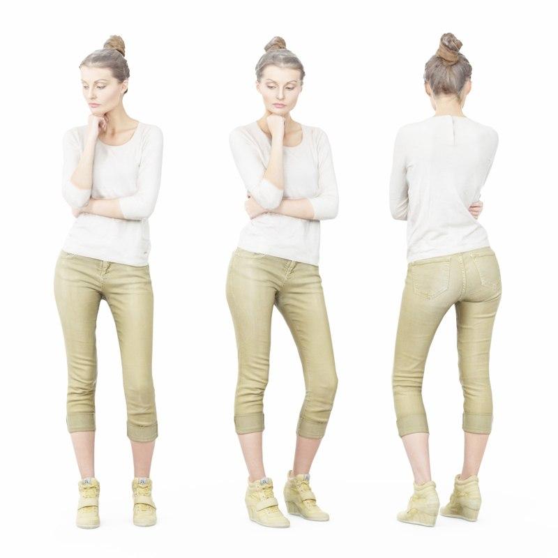 3D girl green pants