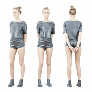 3D girl leather model