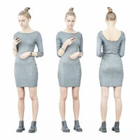 3D model girl rendered human