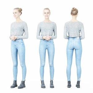 girl rendered human 3D model