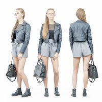 girl leather jacket 3D model