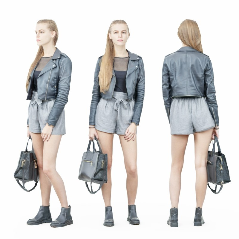 girl leather jacket 3D model