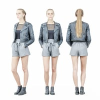 Ponytail Girl In Black Leather jacket and Grey Short