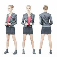 3D girl leather jacket look