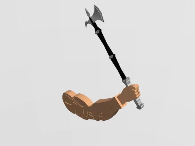 3D axe weapon human hand model